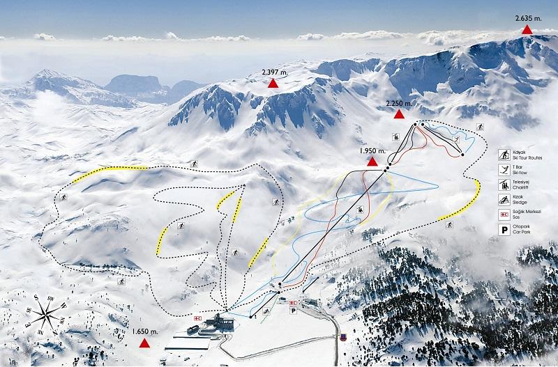 План-схема трасс горнолыжного центра Давраз