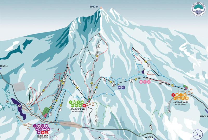 План-схема трасс горнолыжного центра Эрджиес