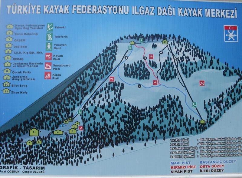 План-схема трасс горнолыжного центра Илгаз