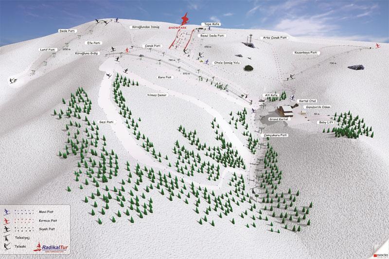 План-схема трасс горнолыжного центра Карталкая