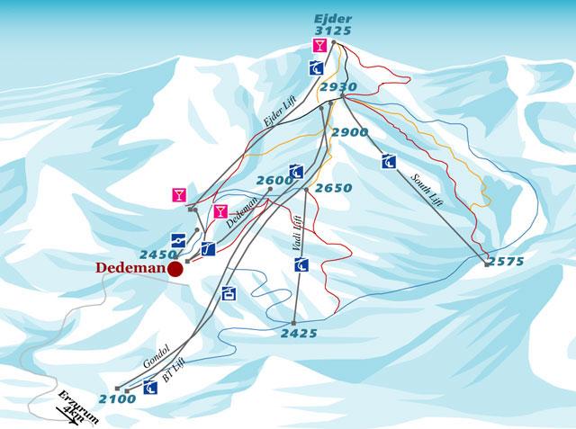 План-схема трасс горнолыжного центра Паландокен