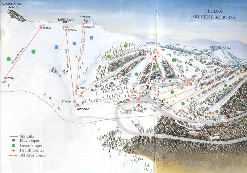 План-схема трасс горнолыжного центра Улудаг