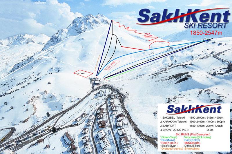 План-схема трасс горнолыжного центра Сакликент